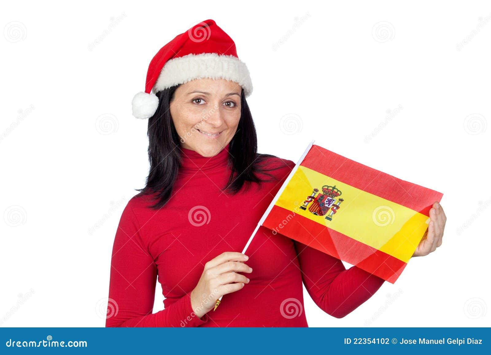 美好的圣诞节标志女孩帽子西班牙语