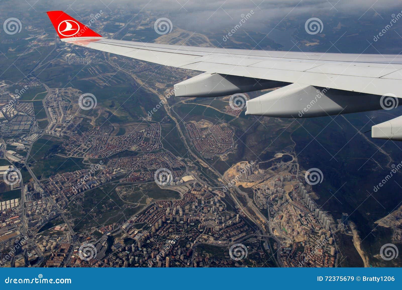 美好的场面飞行到伊斯坦布尔,土耳其里, 2016年