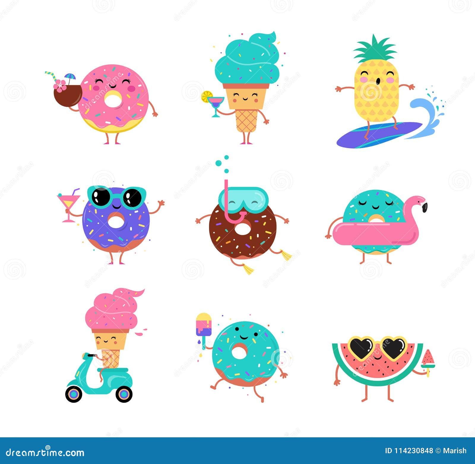 美好的夏天-逗人喜爱的冰淇凌、西瓜和油炸圈饼字符取笑