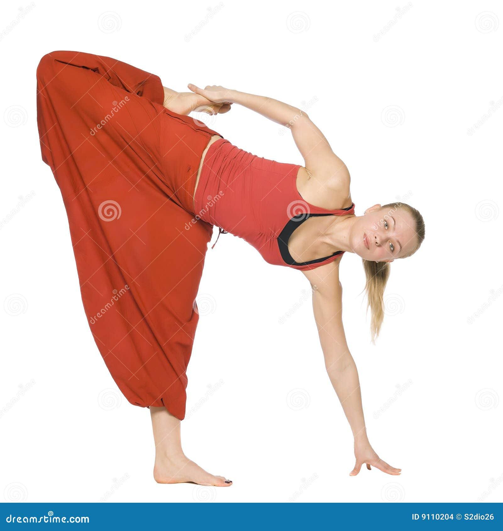 美好的执行的女孩瑜伽