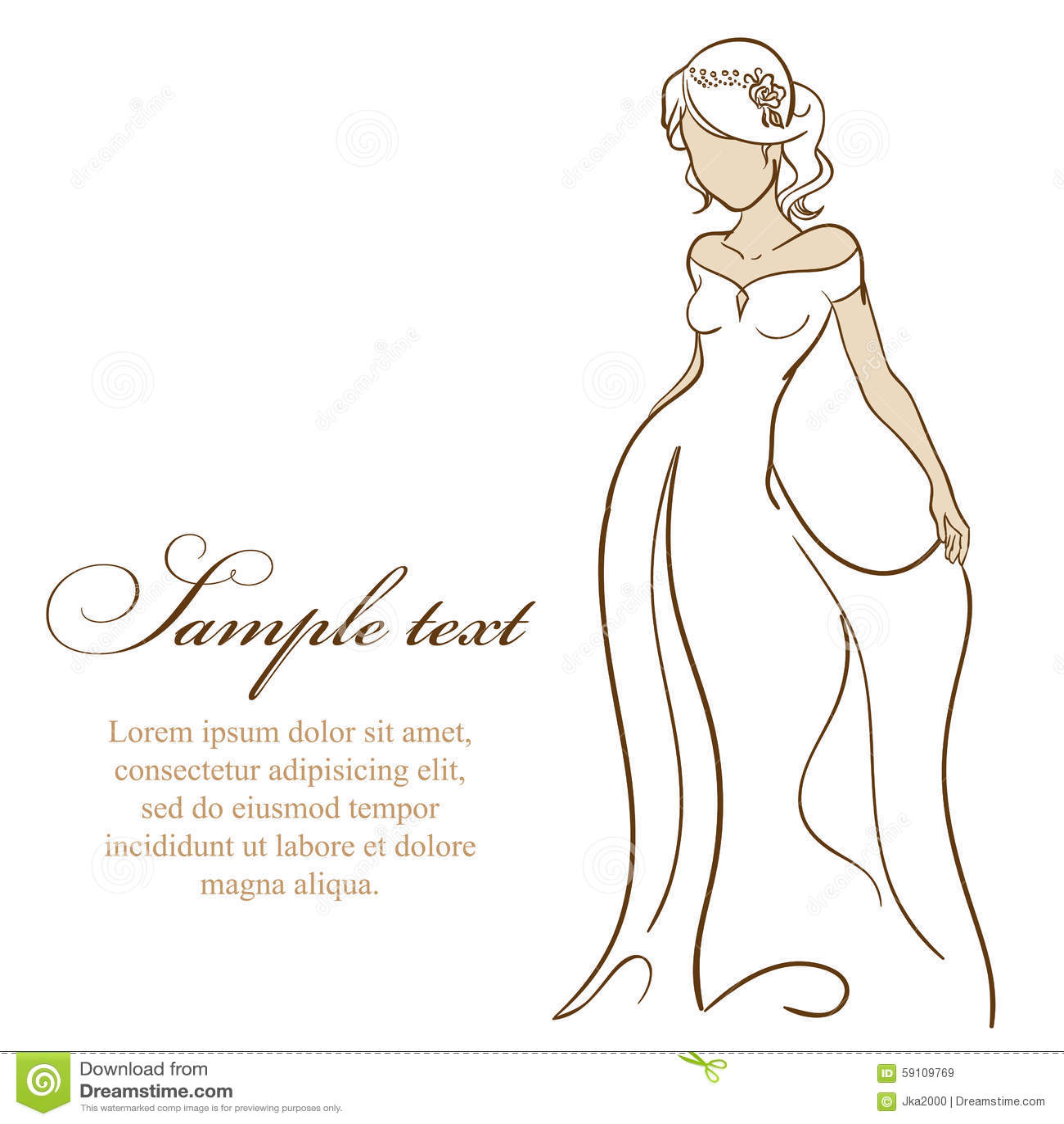 美好的新娘白色服装 也corel凹道例证向量