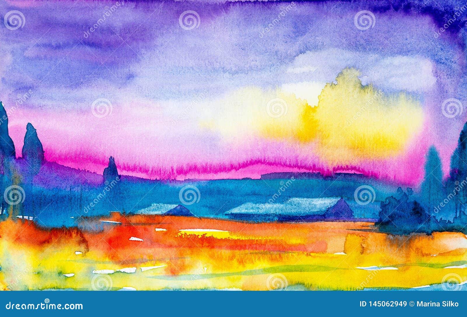 美好的日落的水彩例证在俄国村庄 在村庄和森林前面的明亮的橙黄领域