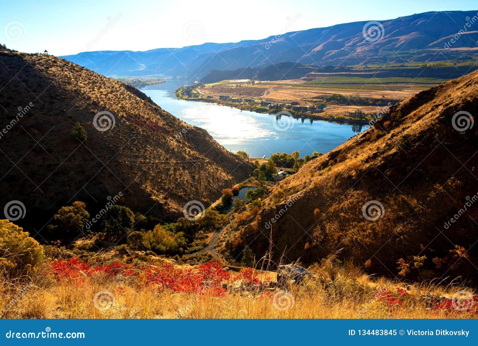 美好的河风景晴朗的秋天天从上面