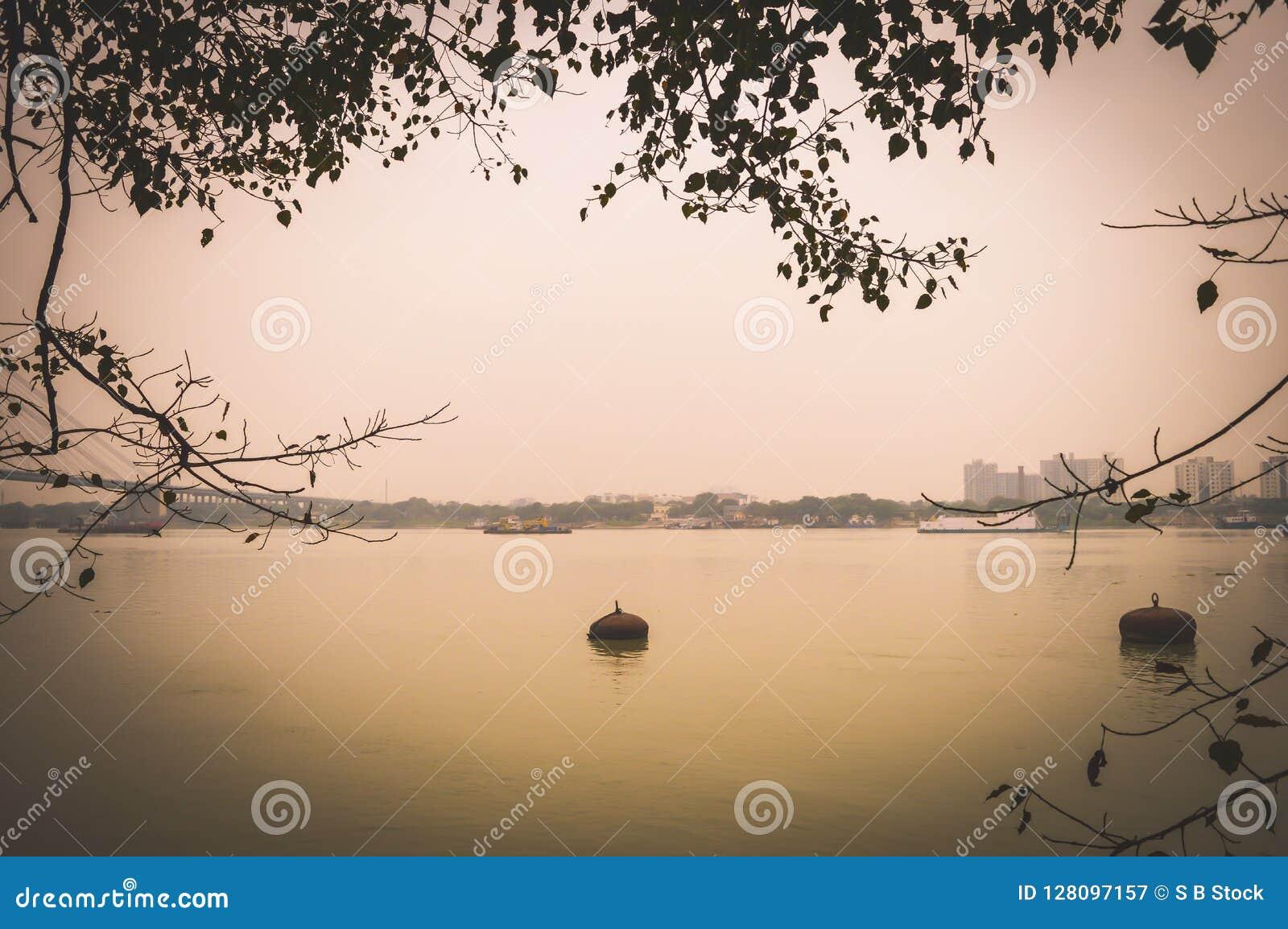 美好的胡格利河视图风景加尔各答,印度