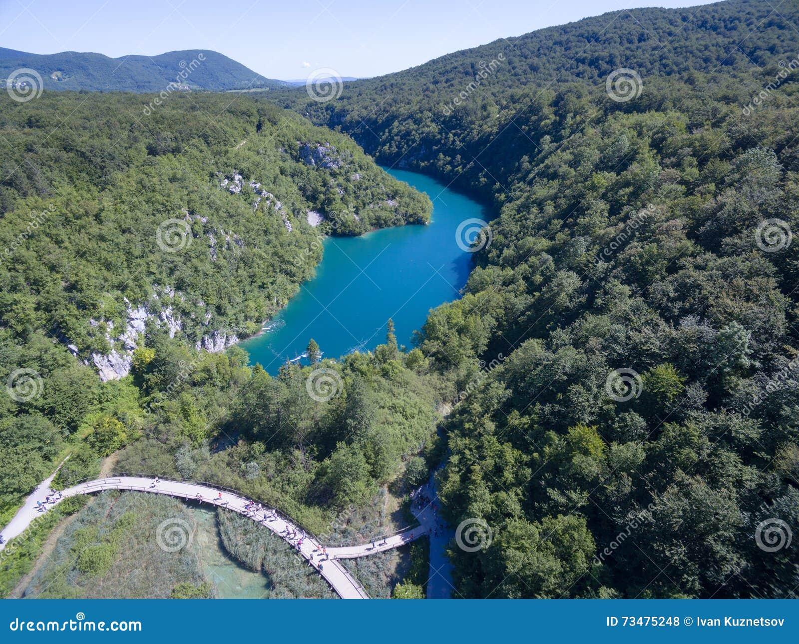 美好的自然鸟瞰图在普利特维采湖群国家公园,克罗地亚