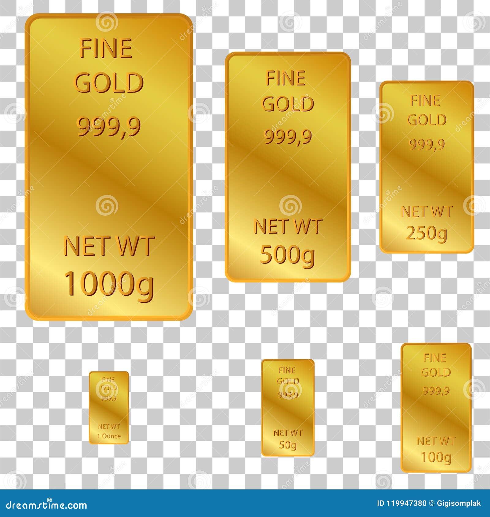 6美好的金子的不同大小在透明作用背景的