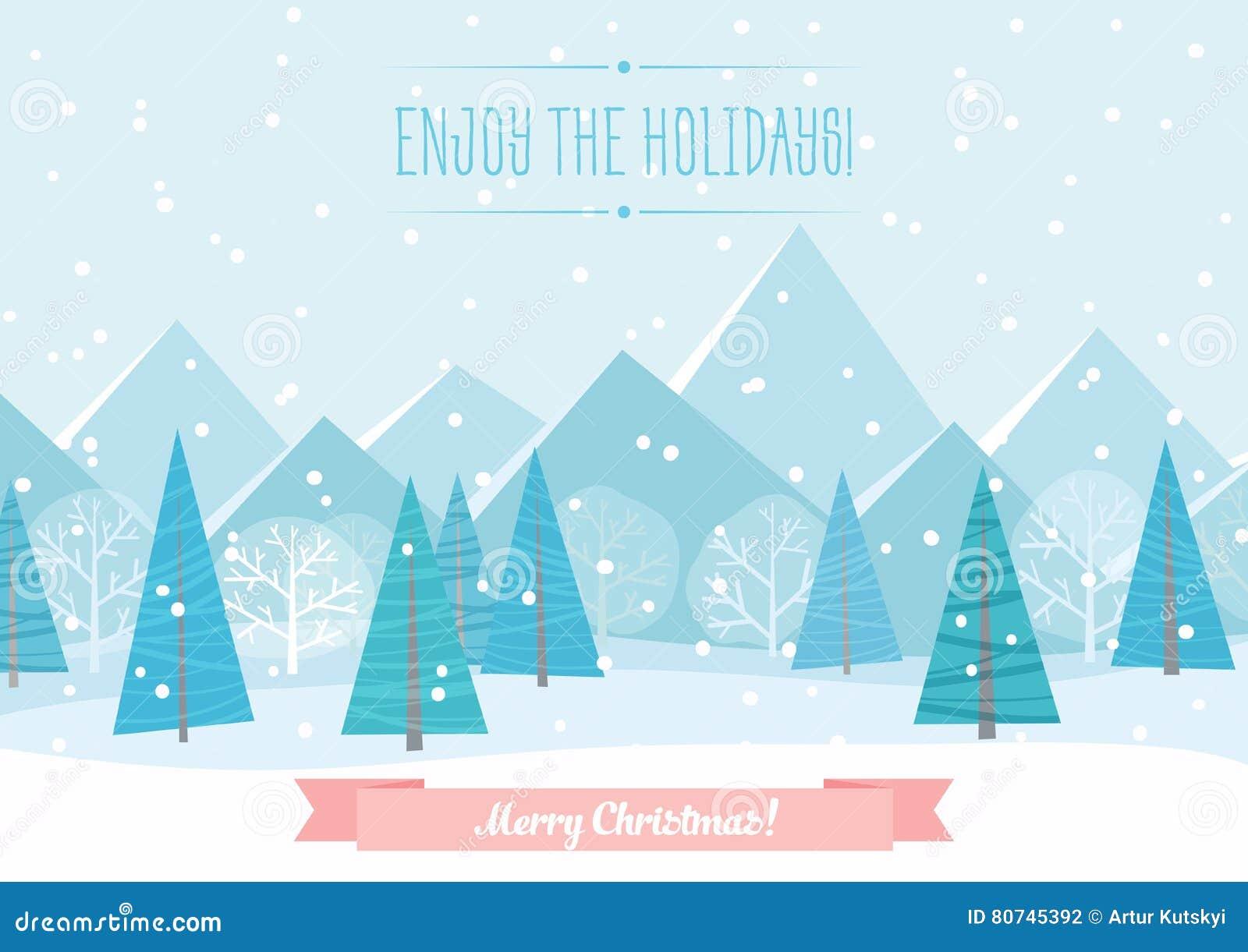 美好的Chrismas冬天平的风景背景 圣诞节有山的森林森林 新年传染媒介问候