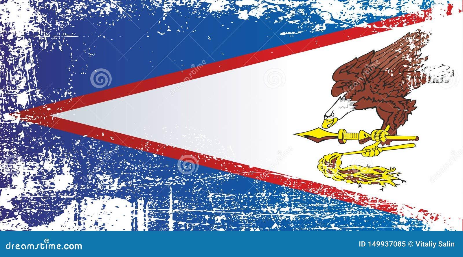 美属萨摩亚的旗子 起皱纹的肮脏的斑点