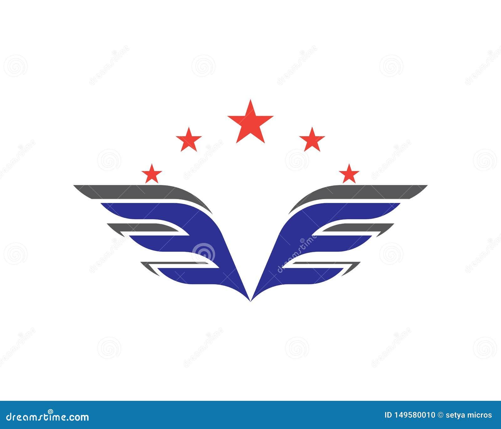 翼商标和标志模板