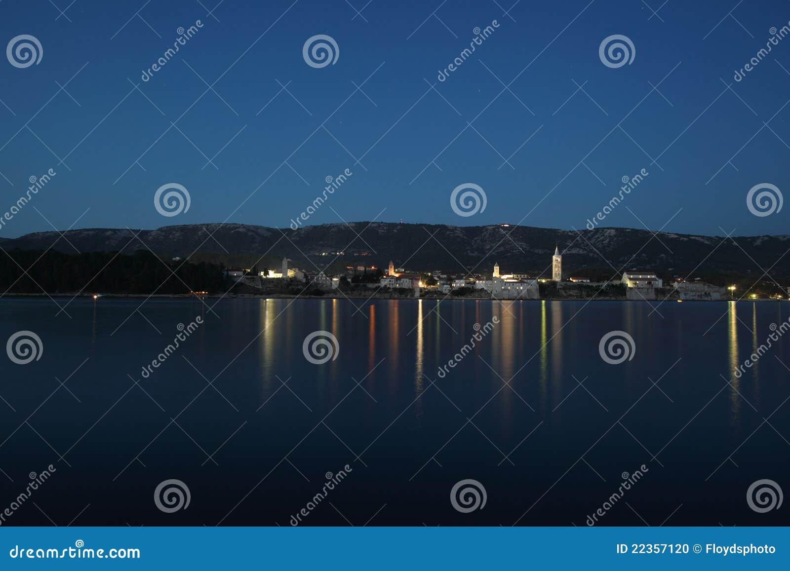 老中世纪城镇在晚上