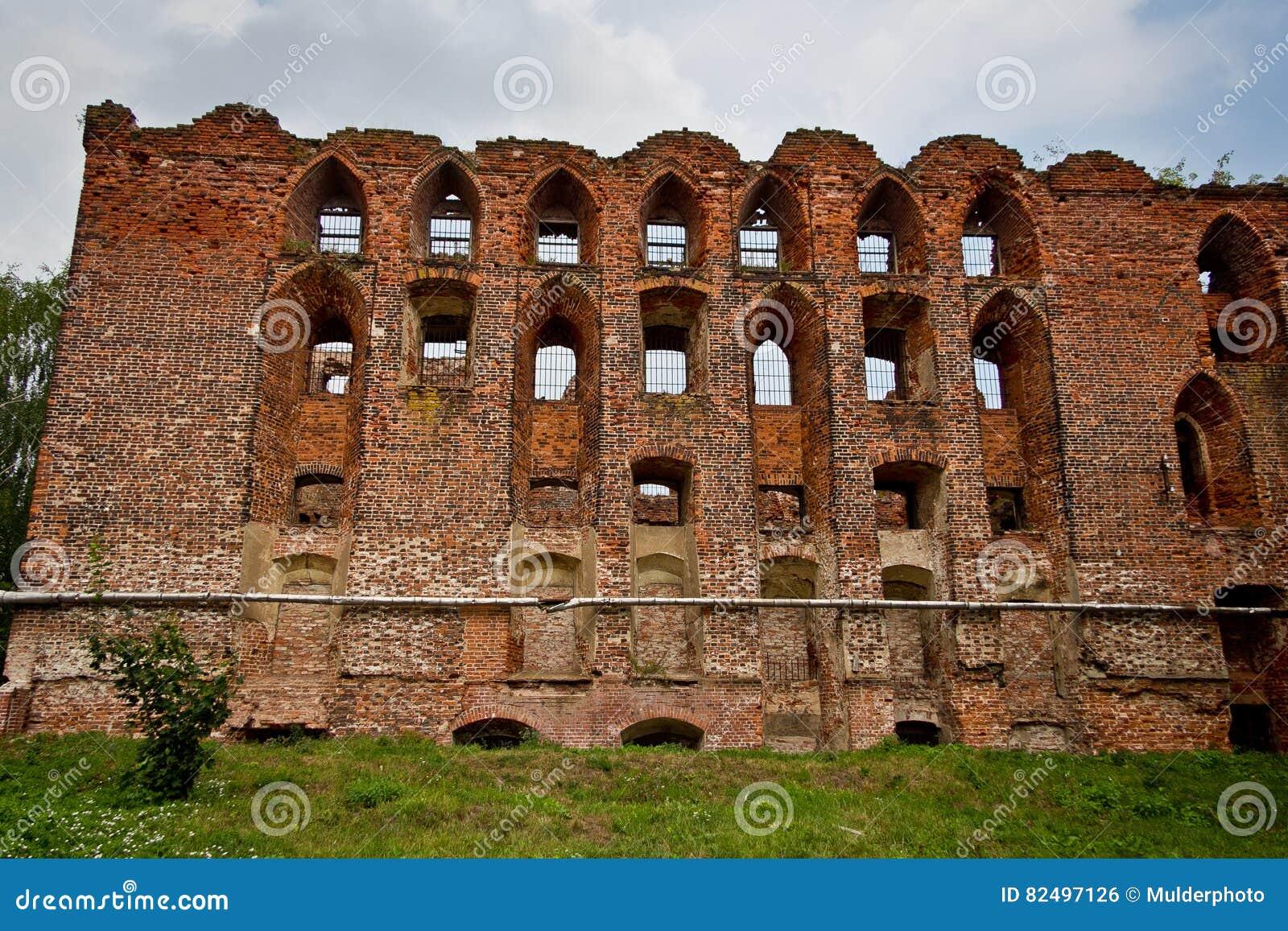 老中世纪德国城堡Ragnit废墟在Konigsberg