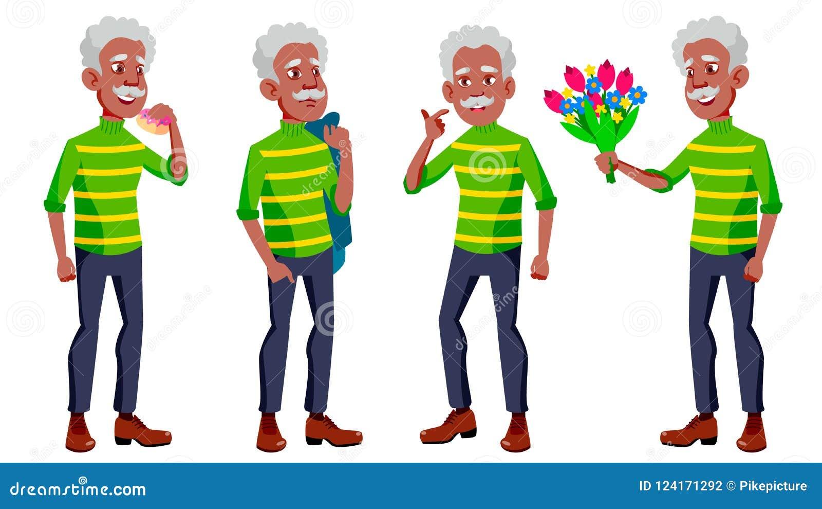 老人姿势被设置的传染媒介 投反对票 美国黑人 老年人 资深人 年龄 友好的祖父母 网,海报