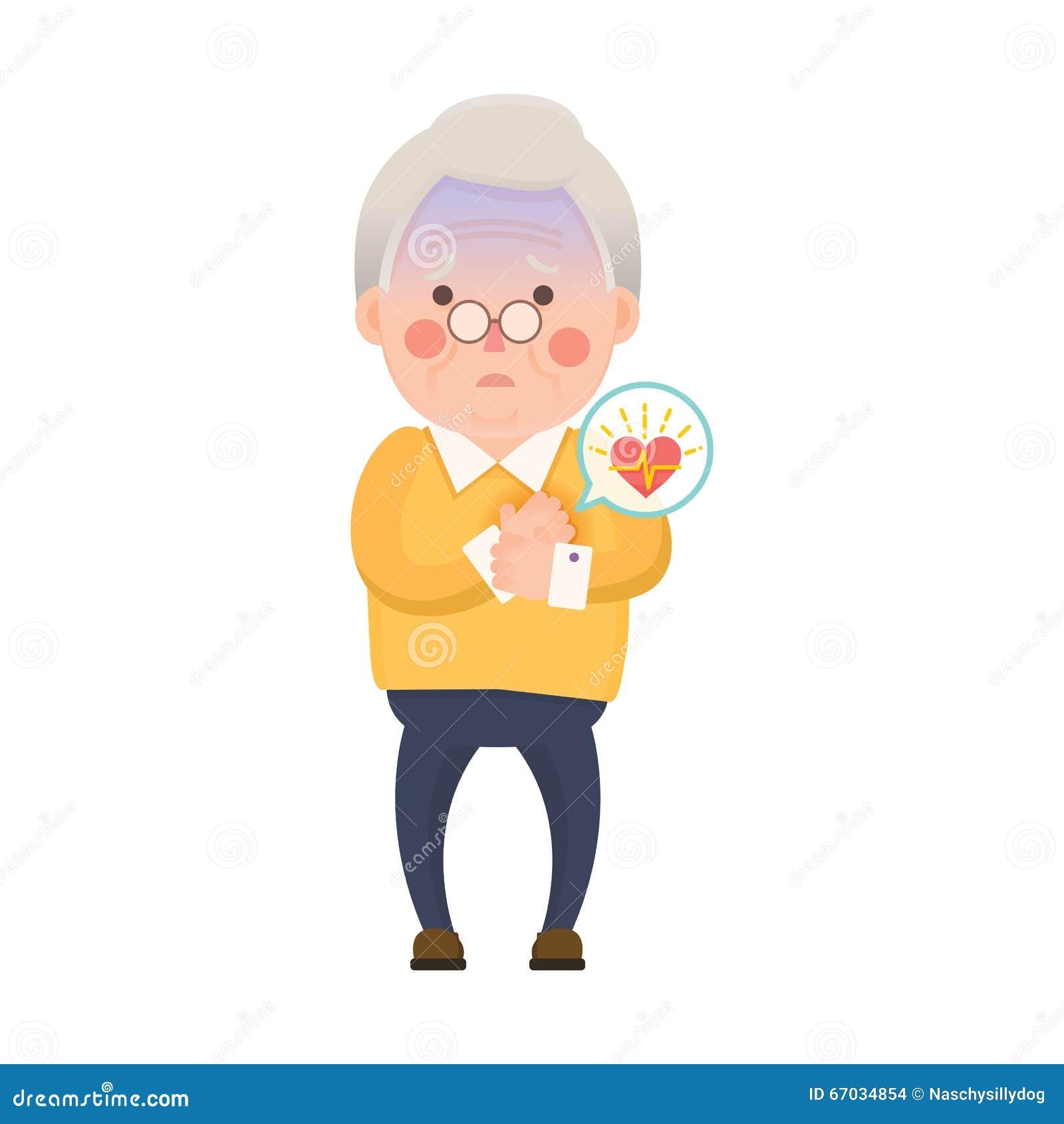 老人心脏病发作漫画人物图片