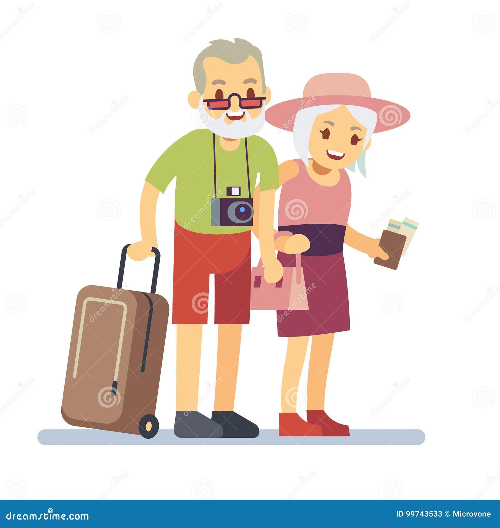 老人旅客在度假 微笑的祖父母在度假 愉快的年长经验丰富的旅行的传染媒介概念