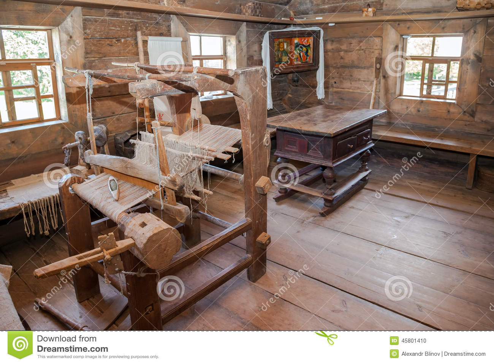 老农村木房子内部 编辑类图片图片