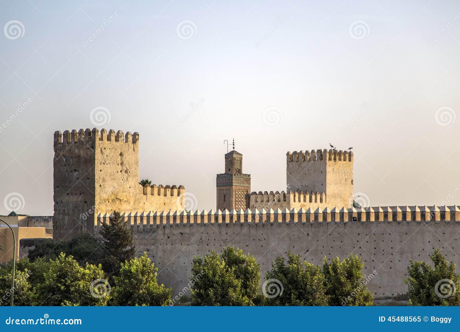老城市墙壁在菲斯,摩洛哥