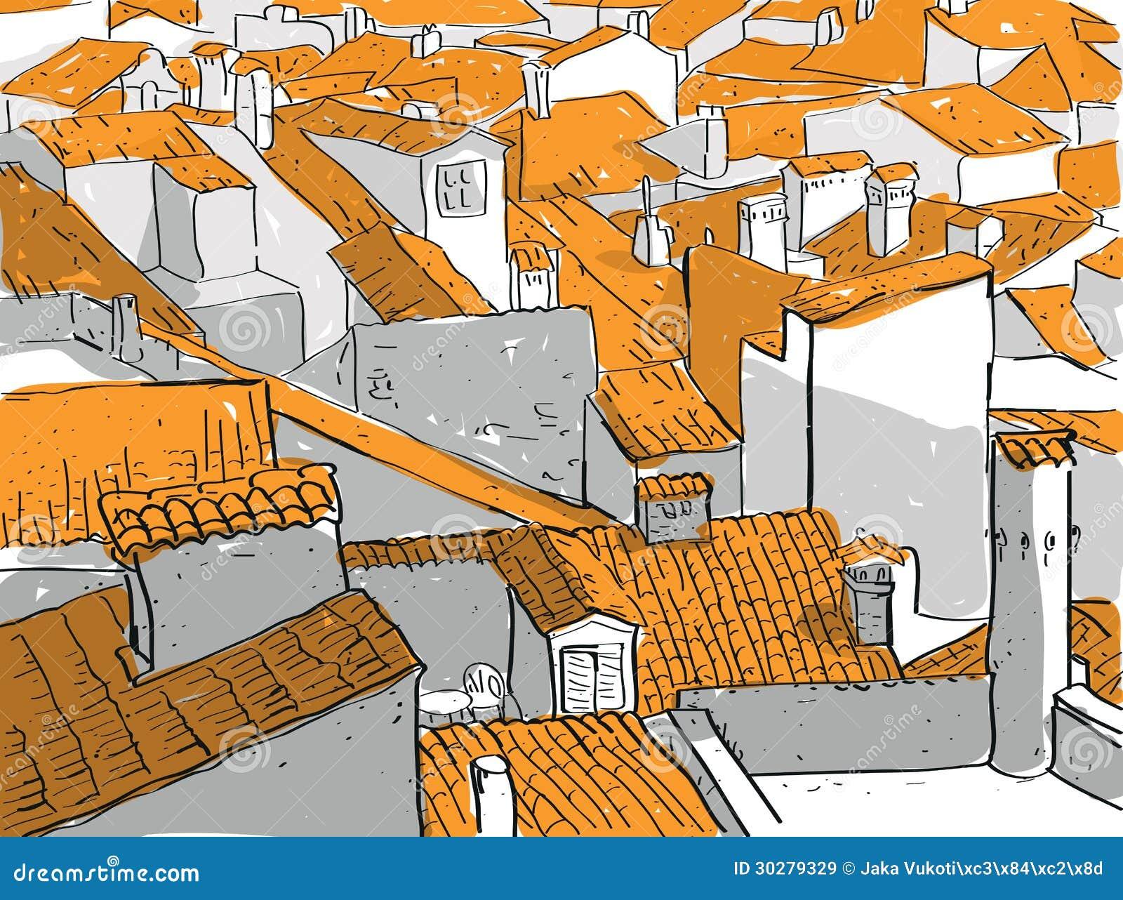 老城市屋顶