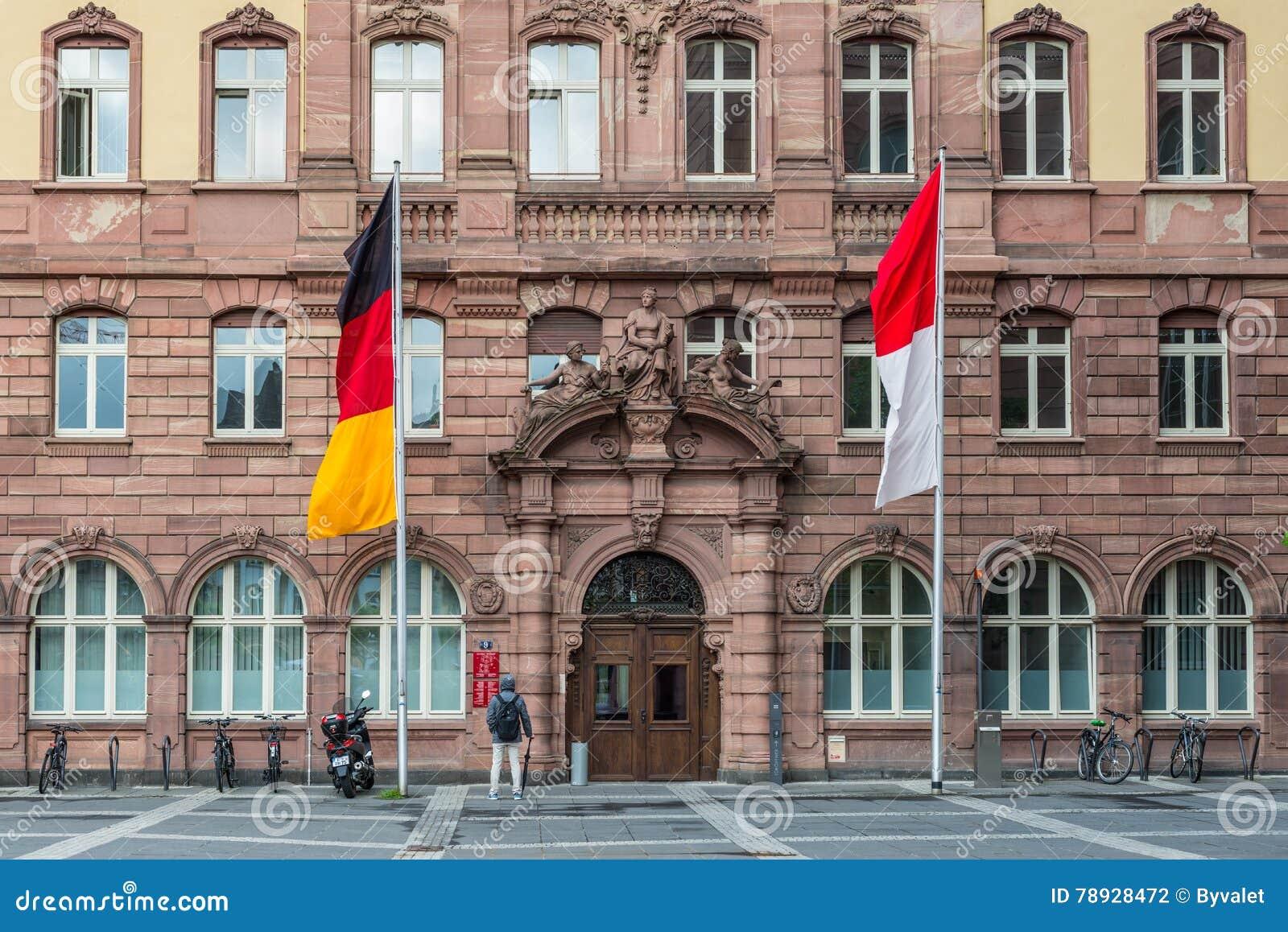 老城镇厅的细节Paulsplatz广场的在Frankfur