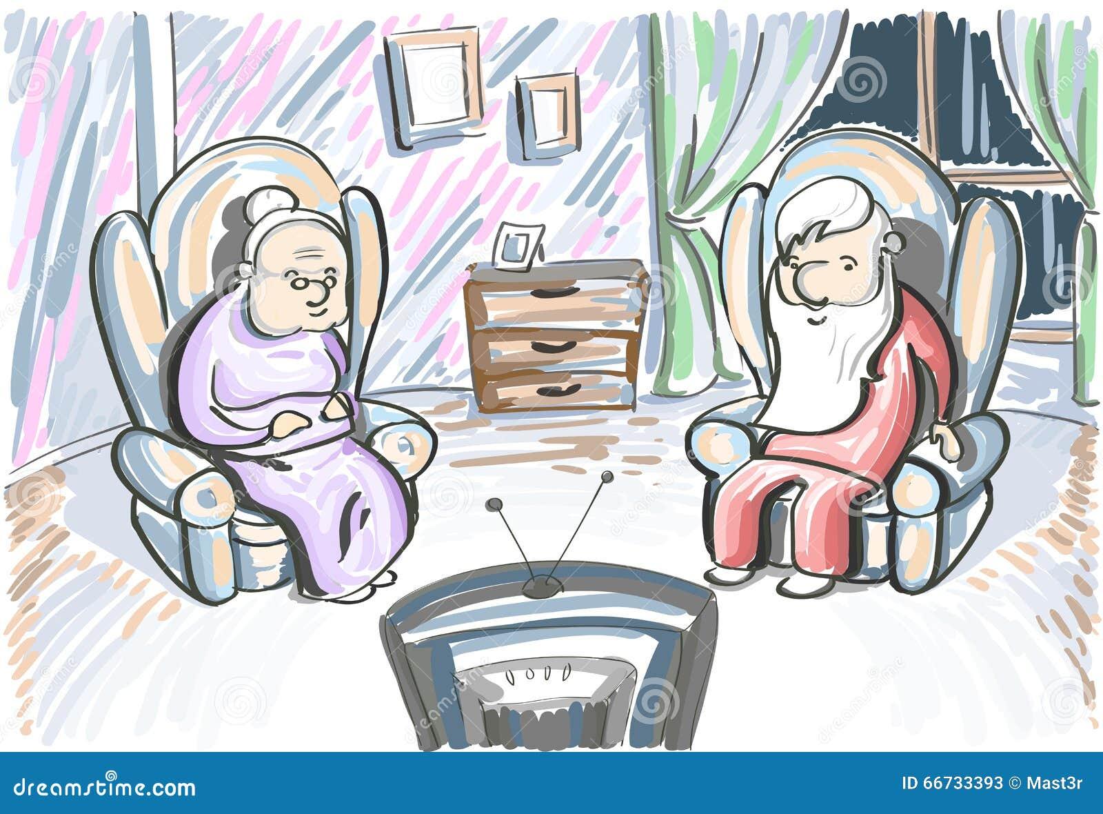 老夫妇人妇女手表电视在扶手椅子坐
