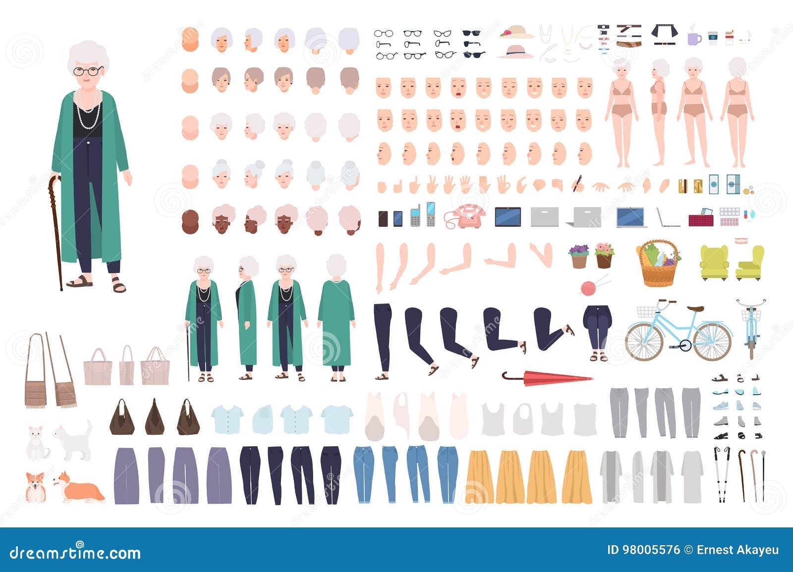 老妇人字符建设者 时髦老婆婆创作集合 另外祖母摆姿势,发型,面孔,腿,手