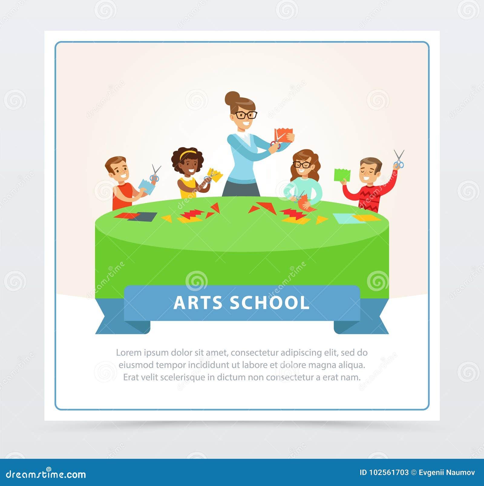 老师和小组纸工艺教训的孩子