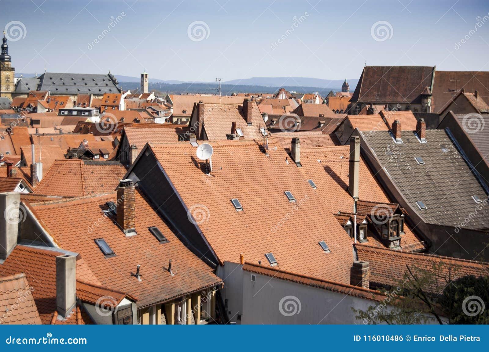 老德国镇红色屋顶