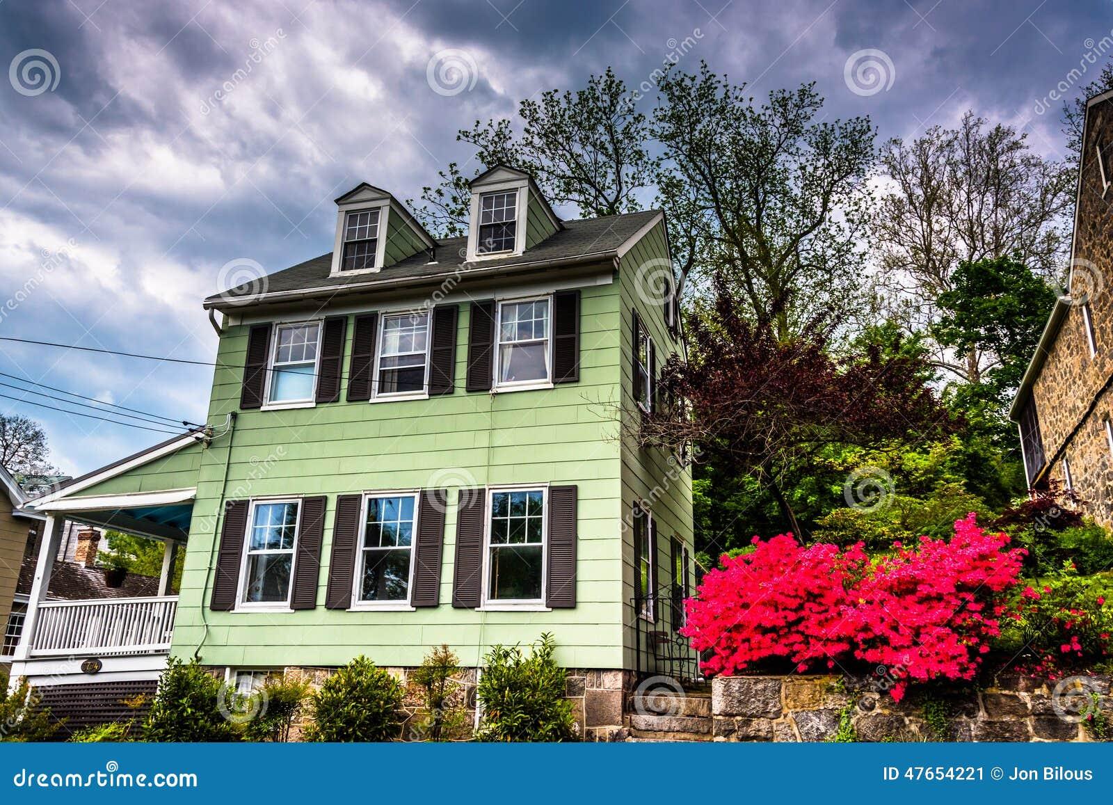 老房子和杜娟花灌木在Ellicott市,马里兰