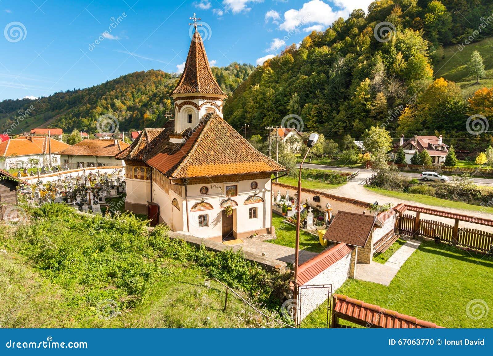 老教会在西蒙vilage,禁令Moeciu,罗马尼亚