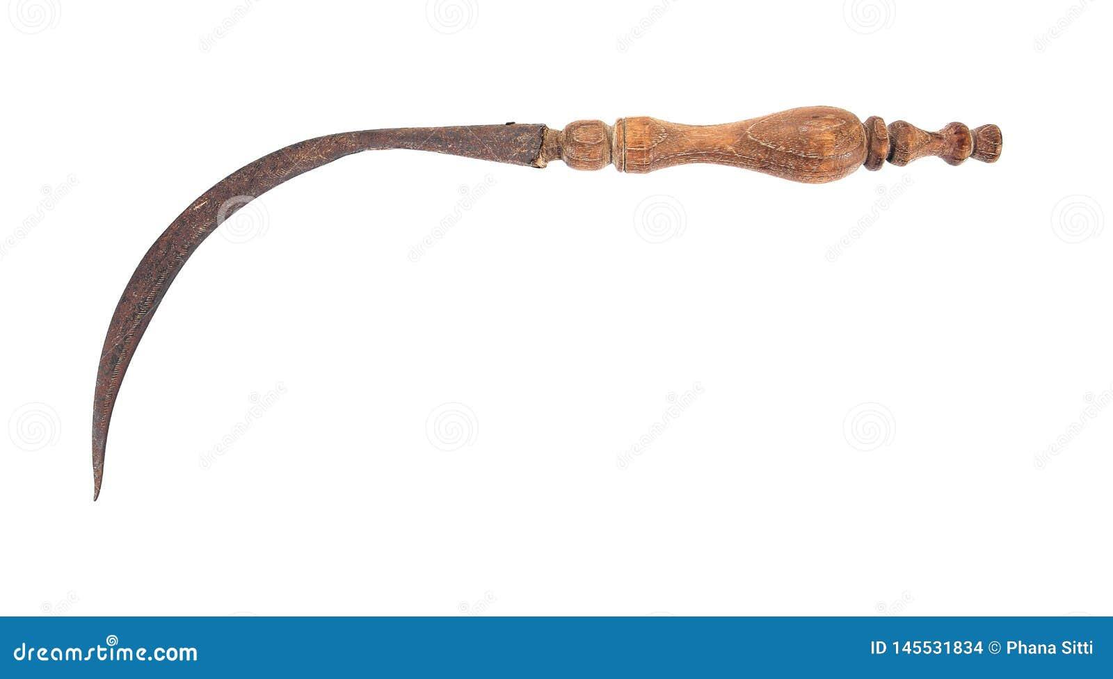 老有在白色背景隔绝的木雕刻的把柄的葡萄酒生锈的镰刀 E