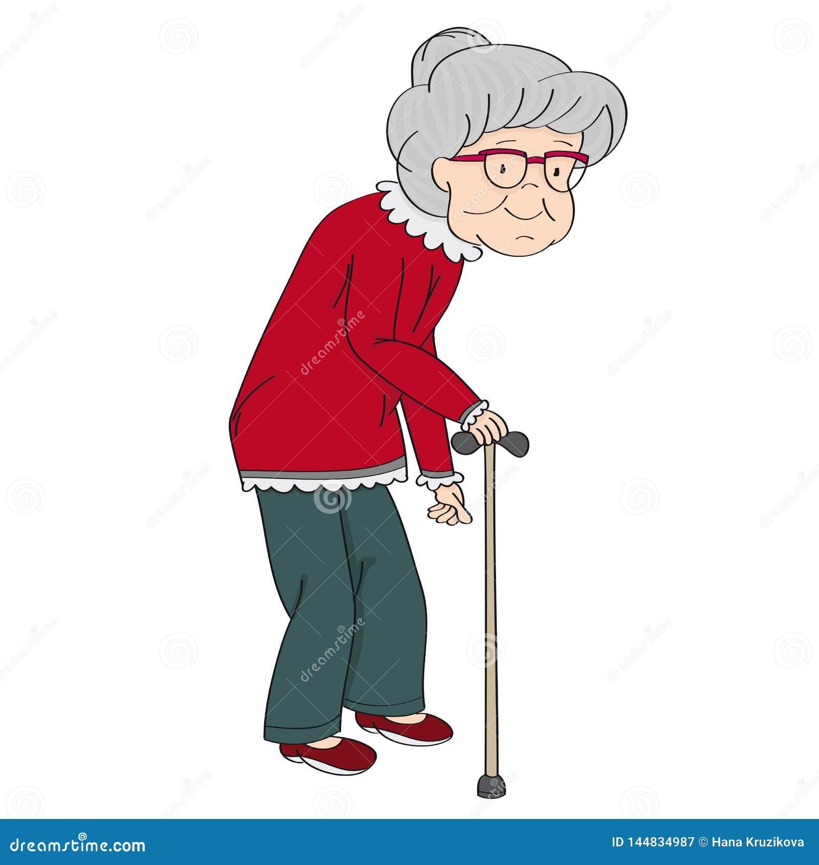 老灰发的资深夫人,退休的妇女,老婆婆用拐棍 ?