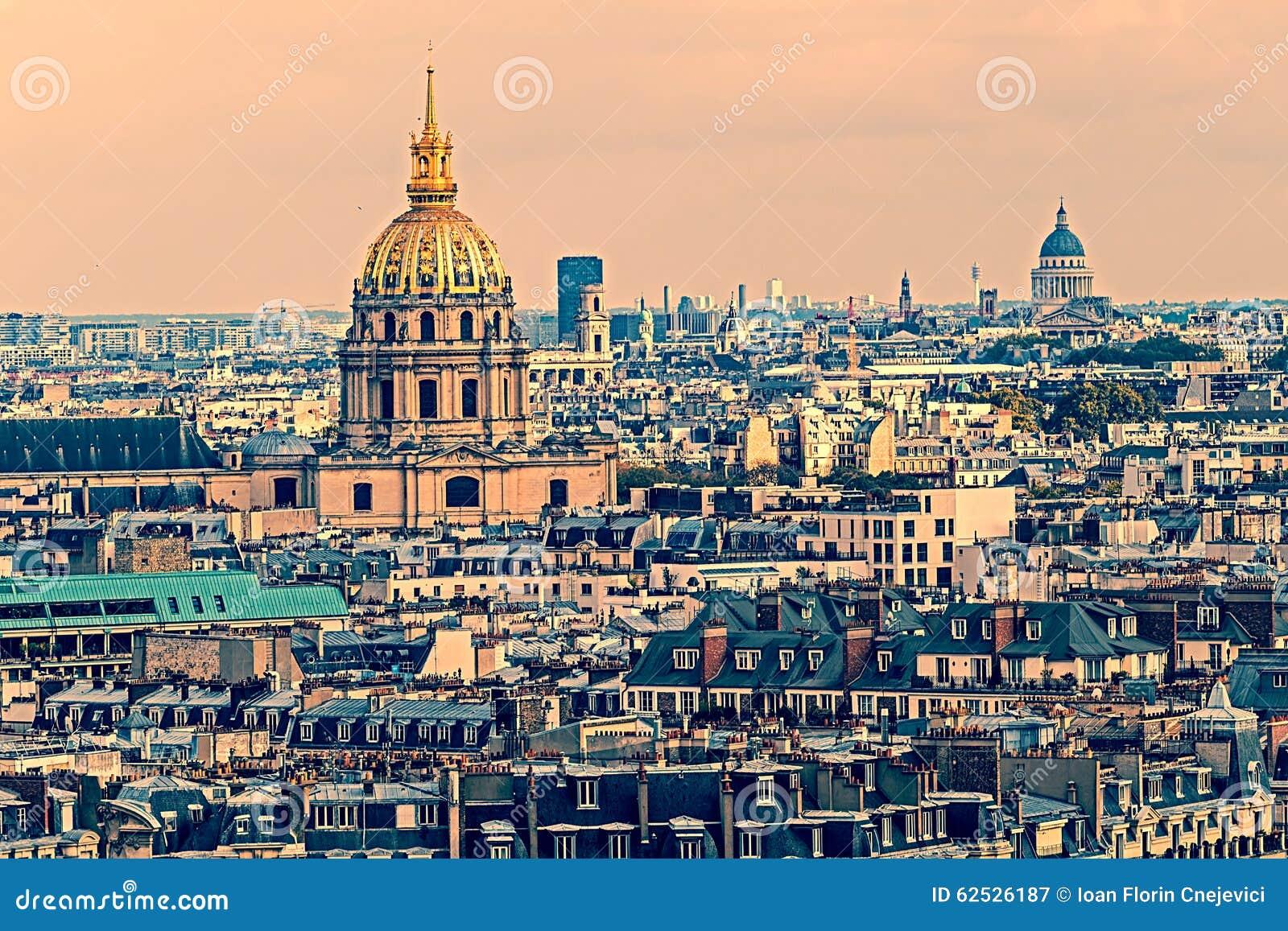 老照片有圆顶des Invalids,巴黎,法国鸟瞰图