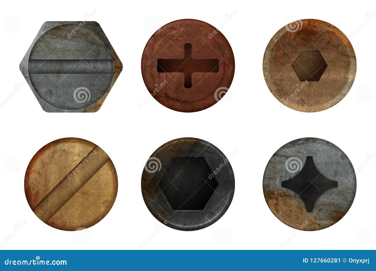 老生锈的螺栓螺丝 硬件铁锈不同的铁工具的金属纹理 传染媒介现实图片