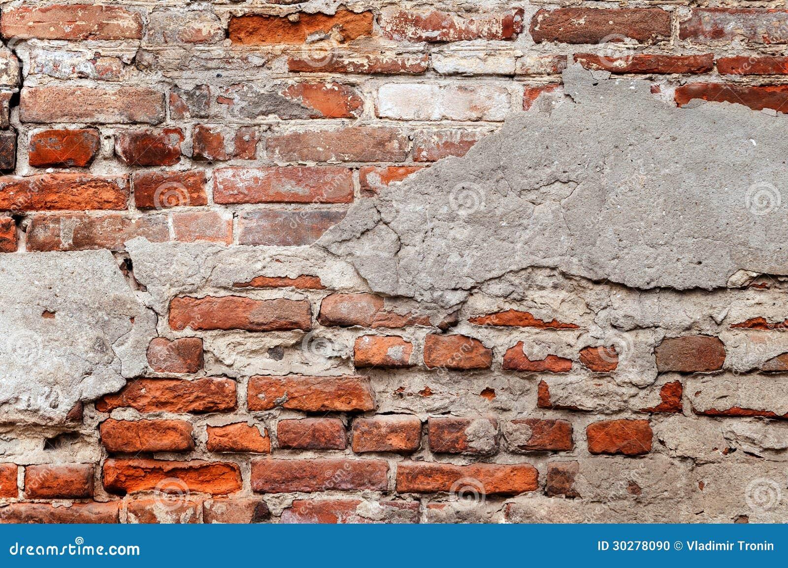 有切削的膏药的老砖墙