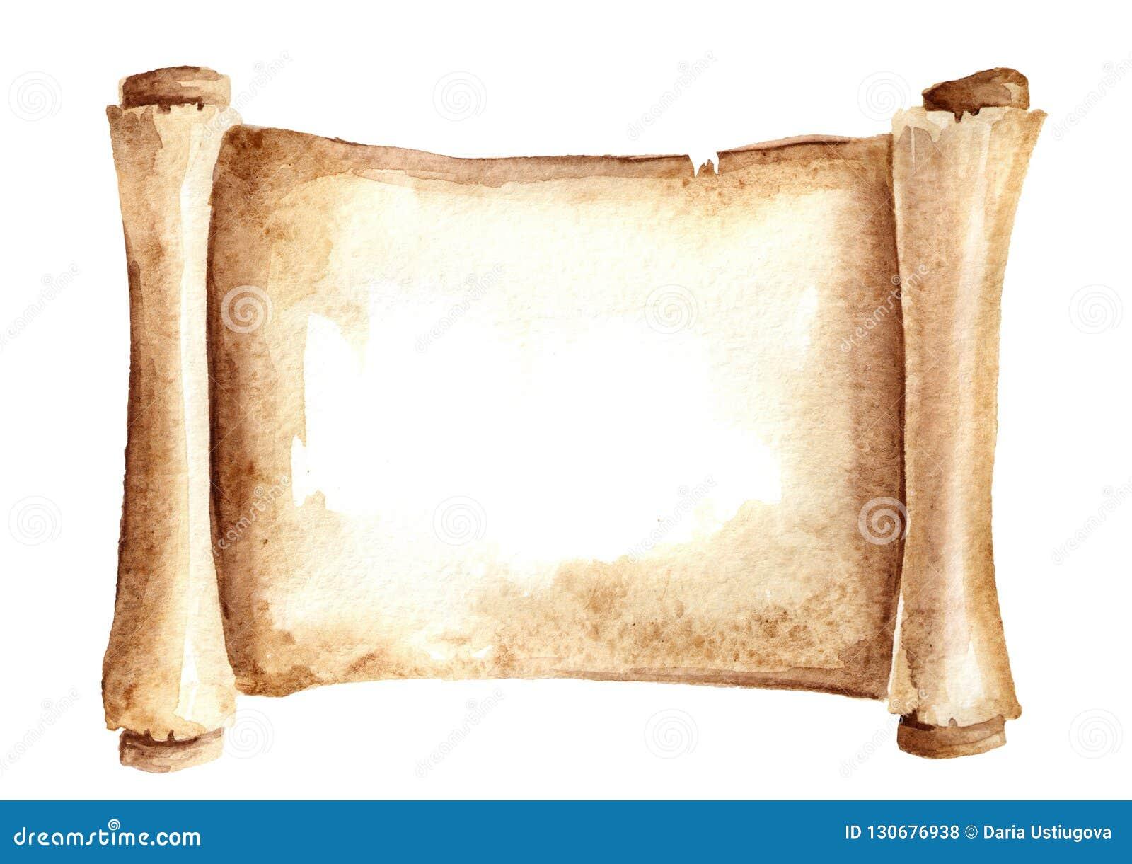 老纸纸卷或水平的羊皮纸 在白色背景隔绝的水彩手拉的例证