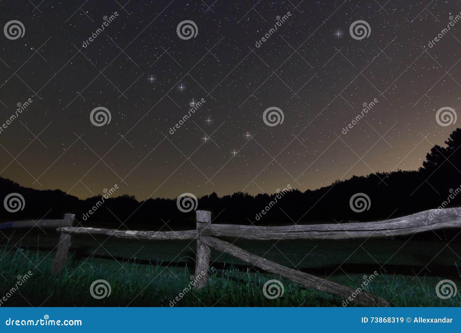 老范围 繁星之夜北极星星,夜空大熊座,七星星座美丽的