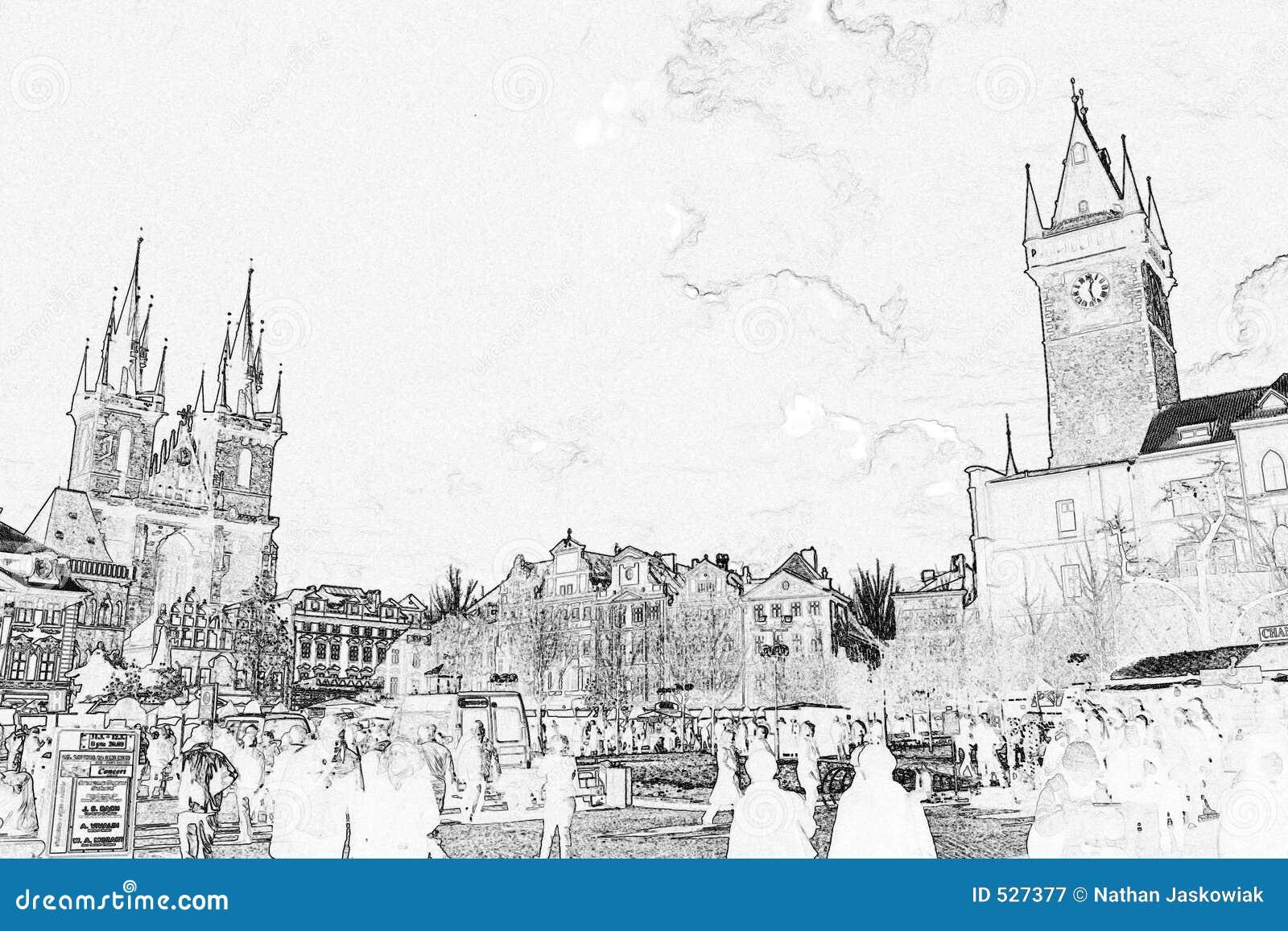 Download 老草图正方形城镇 库存例证. 插画 包括有 捷克斯洛伐克, 布拉格, 边缘, 城市, 红色, 资本, 共产主义 - 527377
