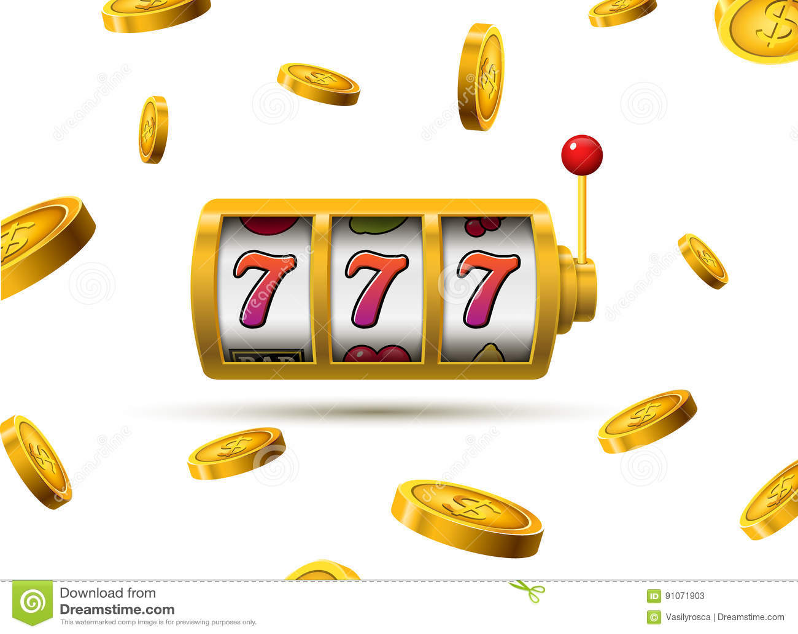 老虎机幸运的sevens困境概念777 传染媒介赌博娱乐场比赛 有金钱硬币的老虎机 时运机会困境