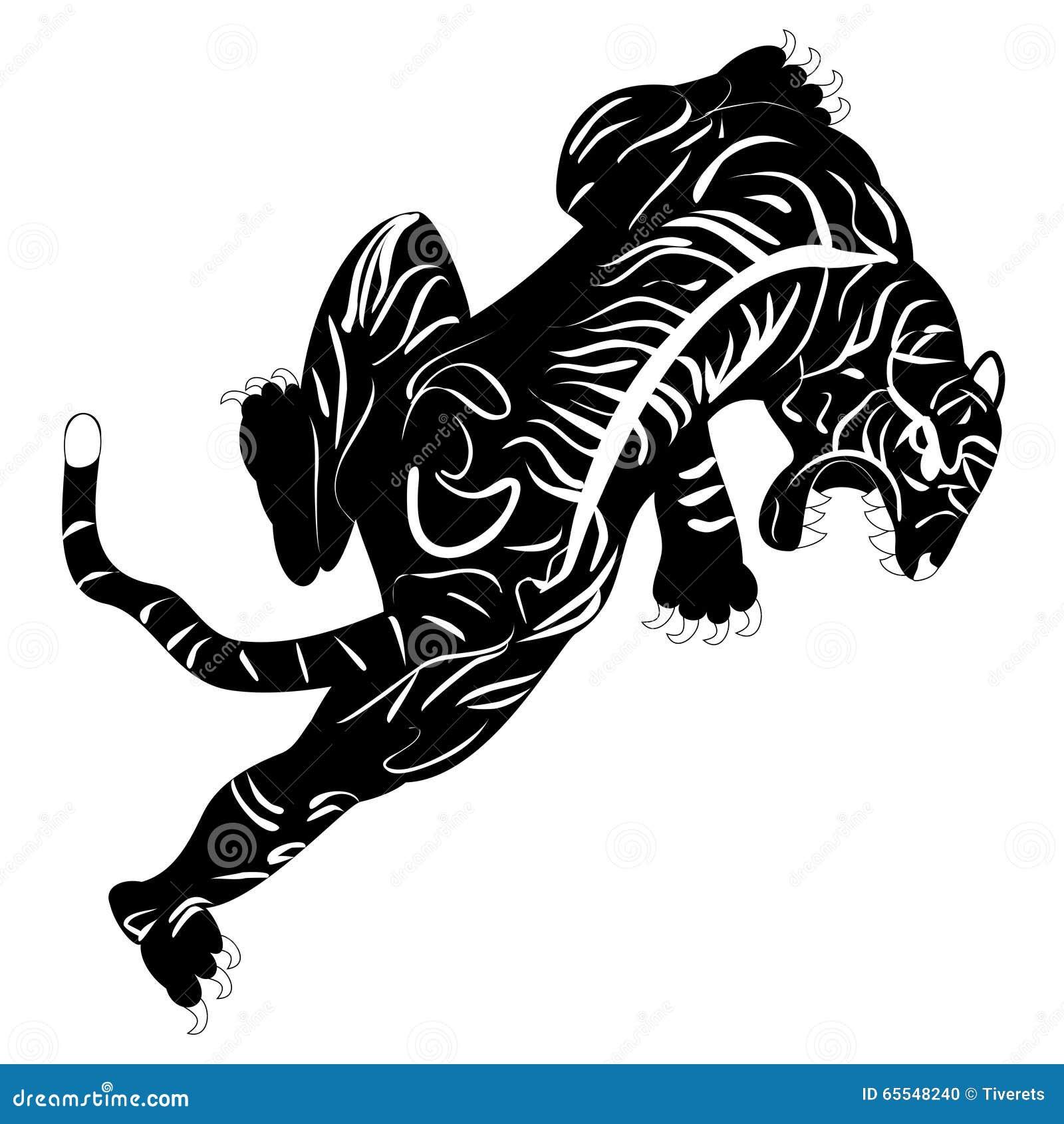 老虎纹身花刺的黑白单色图象.