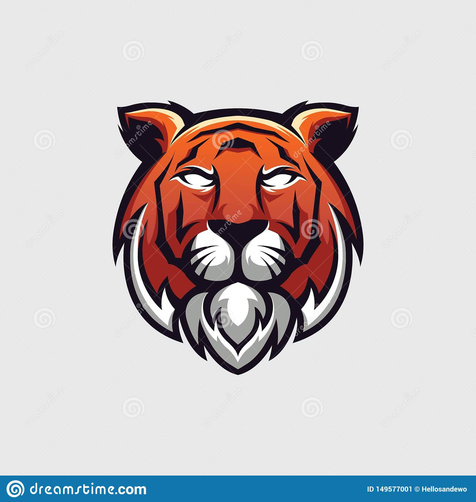 老虎顶头商标的例证,商标模板,象征的和所有需要的