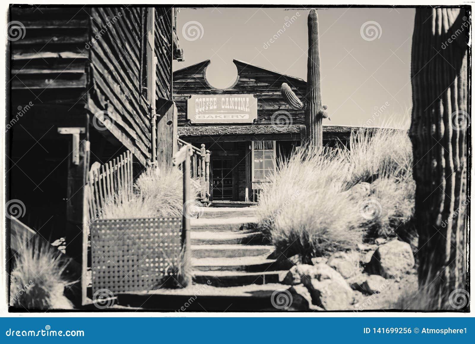 老西部木大厦黑白乌贼属葡萄酒照片在Goldfield金矿鬼城在Youngsberg