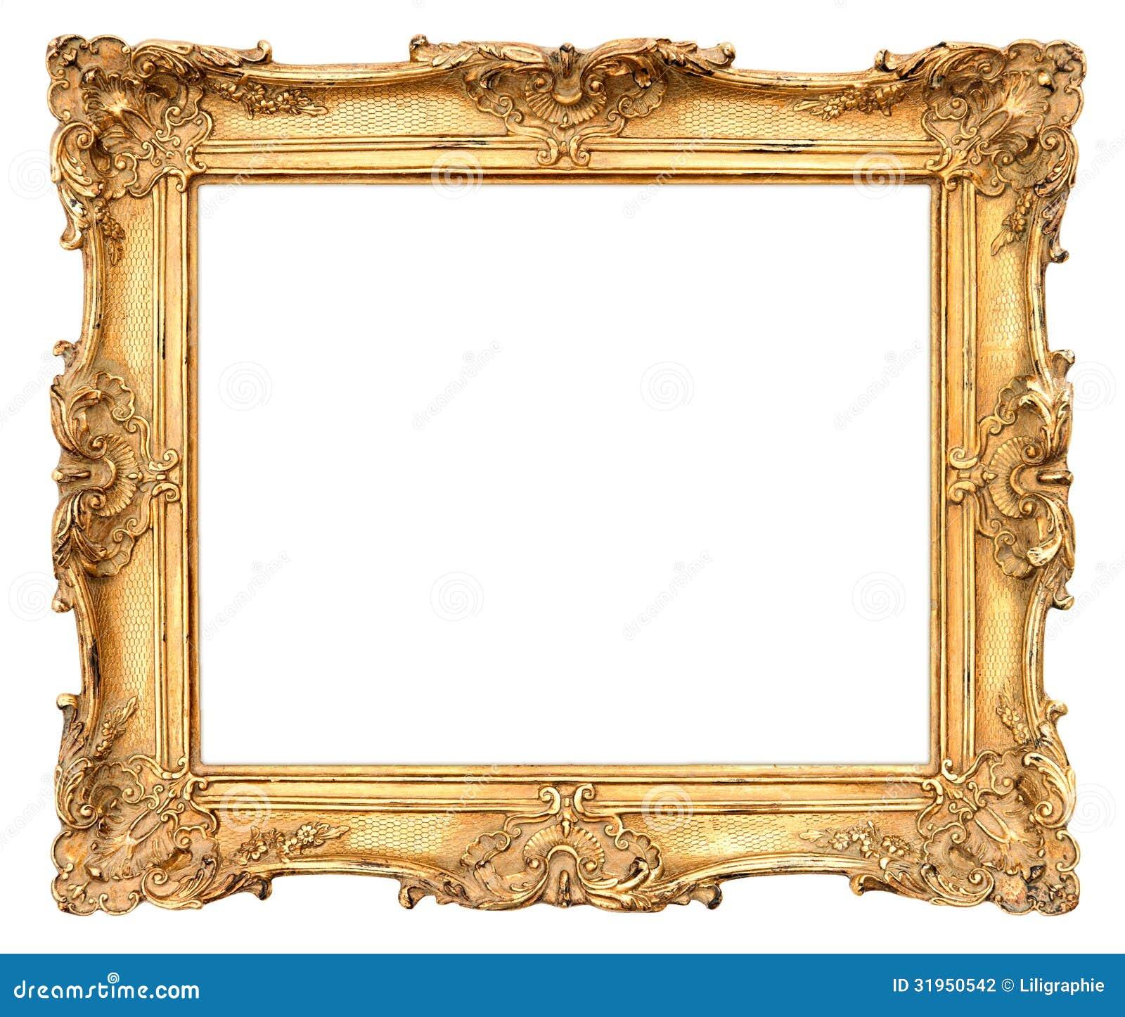 老金黄框架。葡萄酒背景