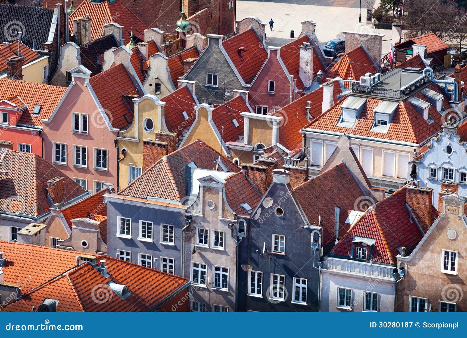 老镇鸟瞰图在格但斯克。