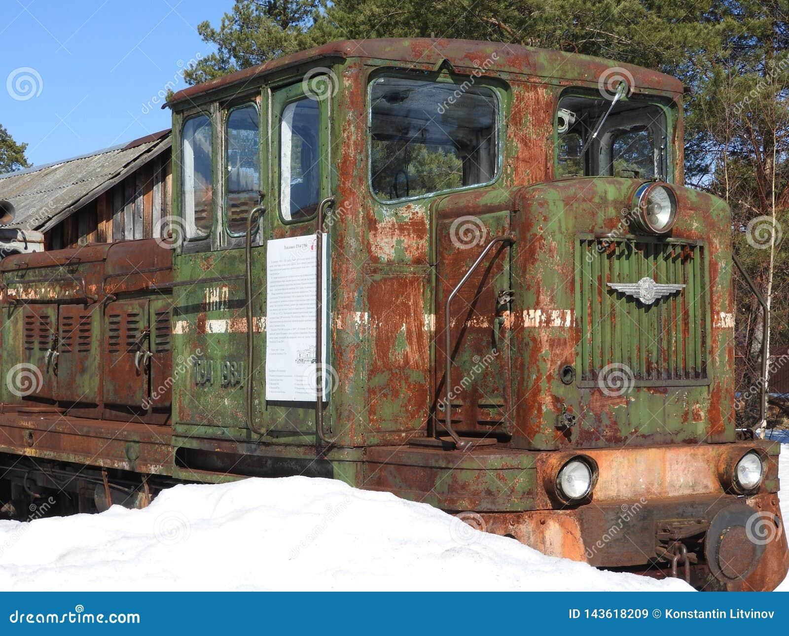 老露天蒸汽机车佩列斯拉夫尔博物馆在冬天,俄罗斯