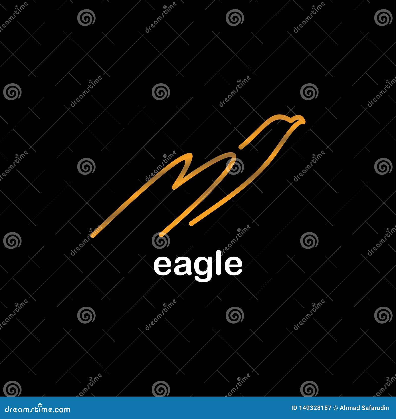 老鹰线艺术象设计在黑背景的金子颜色公司品牌的