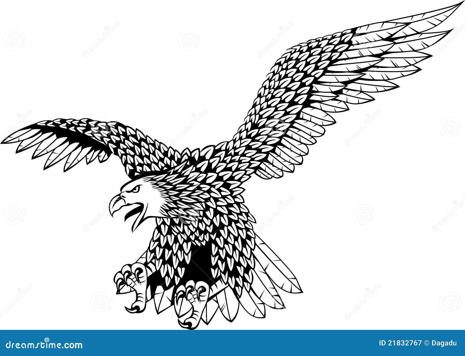 黑色老鹰例证纹身花刺白色.