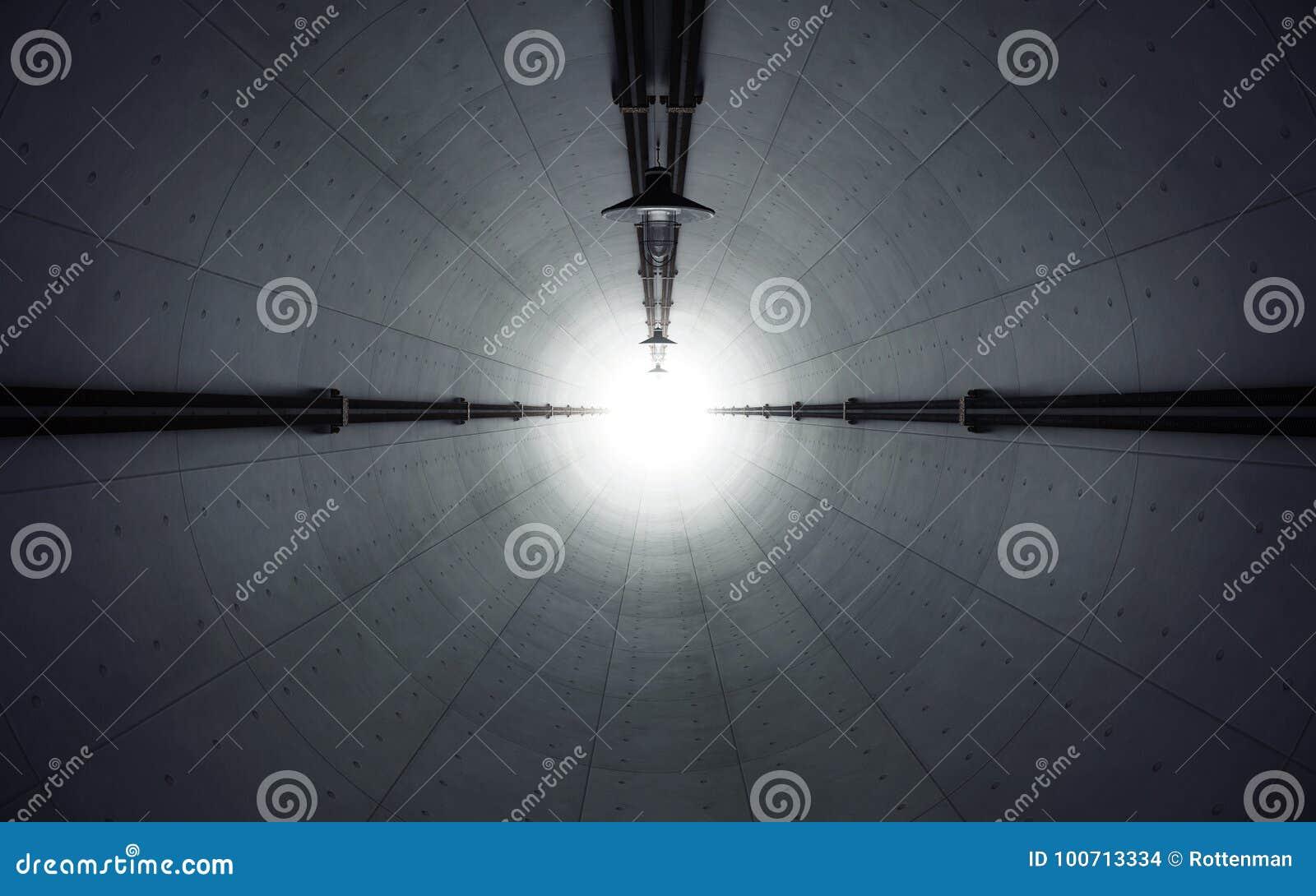 老黑暗放弃了有光的具体隧道在末端 3d