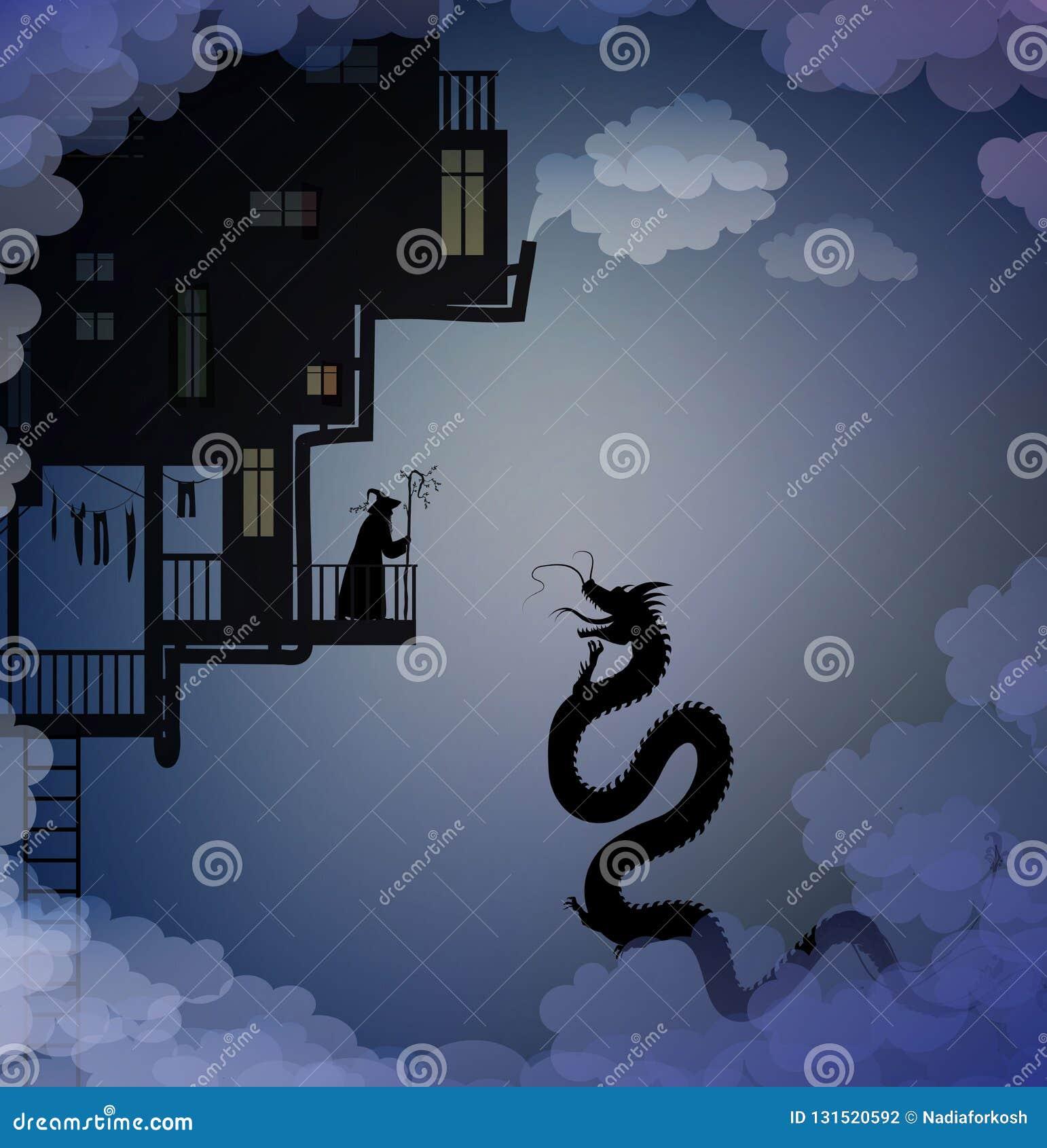 老默林和龙在天空,场面在理想国,生活在天堂,神仙的场面与龙和人,神仙