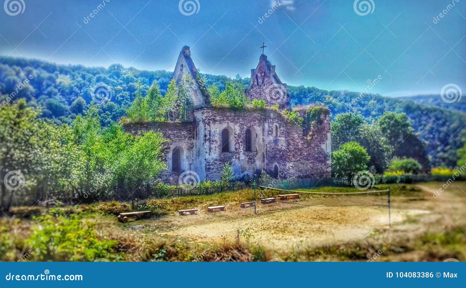 老,被破坏的,美丽的教会