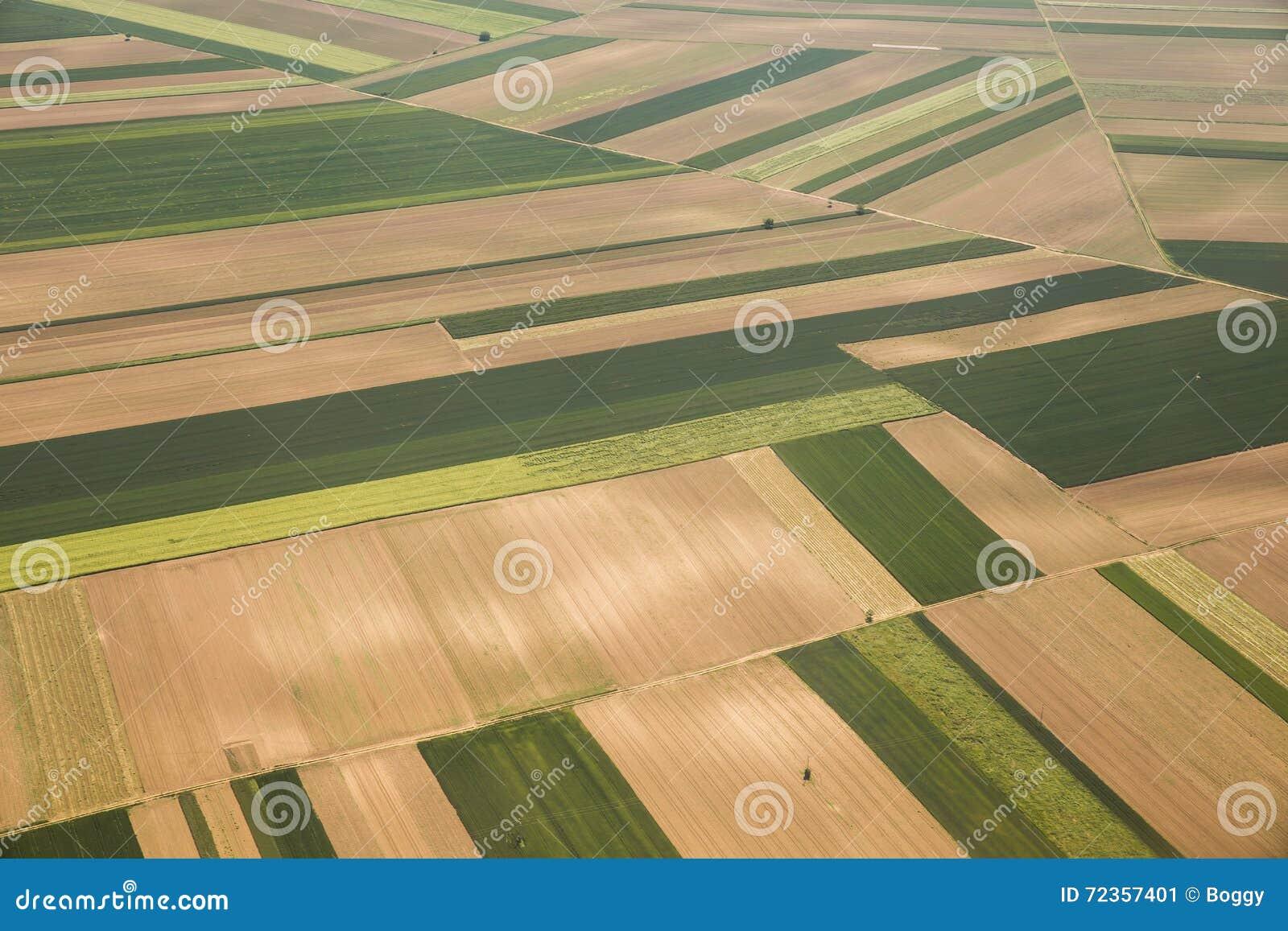 耕地在Voijvodina从空气拍摄了