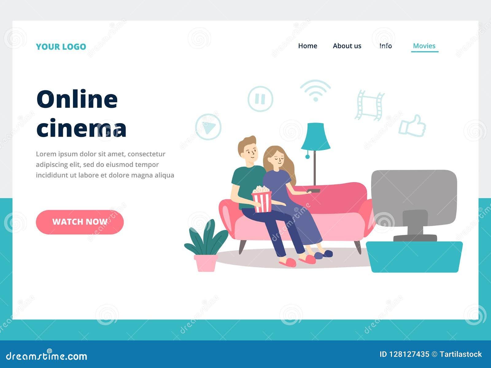 耦合电影注意 年轻人和妇女手表电影在家 网上戏院服务业着陆页传染媒介
